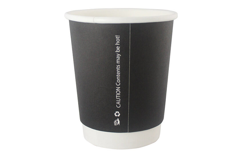 D04002 8oz Double wall Coffee Cup Black