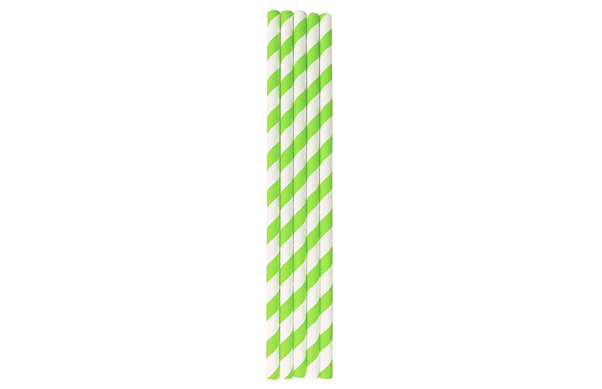 D22040 Lime Green Striped Straw