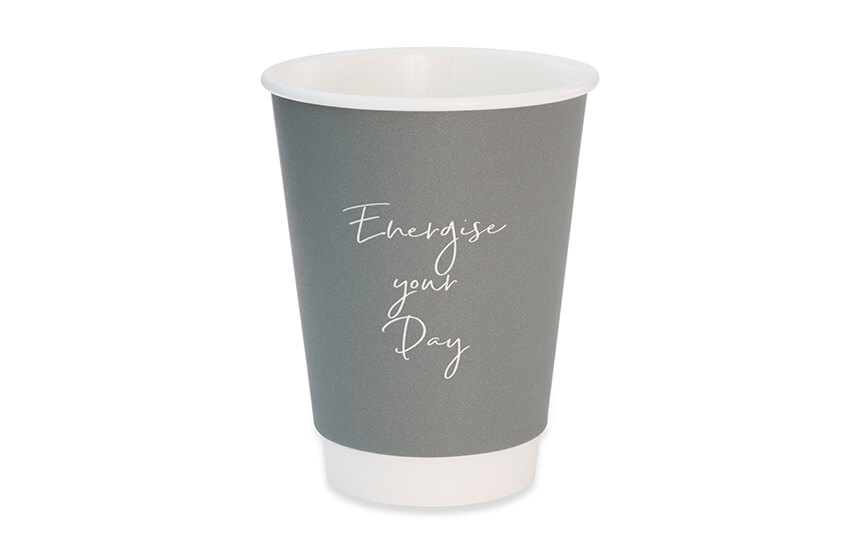D04063 12oz Grey Signature Double Wall Coffee Cup